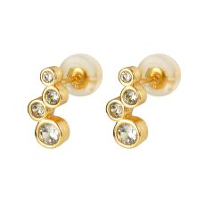 Simple Clear Rhinestone Inlaid Gold Plated Brass Stud Earrings Jewelry for Women Girls