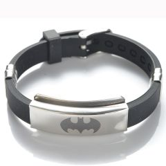 Black Batman Stainless Steel with Rubber Adjustable Bracelet