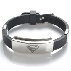 Black Rubber Stainless Steel Superman Symbol Bracelet