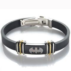 Special Design Batman Stainless Steel Black Rubber Bracelet