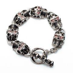 Skull Head Link Bracelet Gothic Biker Pink Eyes Vintage Stainless Steel