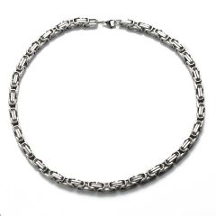 Byzantine Box Stainless Steel 8mm Chain Necklace 21.5 Inch for Men's Jewelry