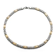 Stainless Steel Two-Tone Byzantine Chain Necklace for Men Boys Engraved Link Gold Silver
