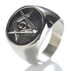 Embossed Stamped Freemason Masonic Stainless Steel Men Ring