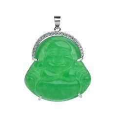 Green Malay Jade Stone Laughing Buddha Design Pendant Jewelry Accessory
