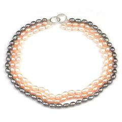 Elegant 7-8mm Freshwater Rice Pearl Multi-Strand Necklace
