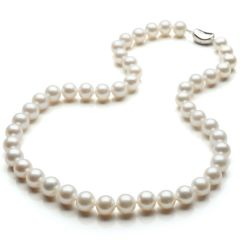 Perfectly Round 9-10mm AAA+ Natural White Pearl Necklace 925 Sterling Silver Clasp N1498