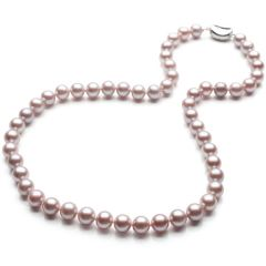 Round 8-9mm AAA Natural Purple Pearls Necklace 17.5 Inch N1859