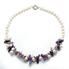 18 Inch 8-9mm White Freshwater Pearl and Amethyst Necklace