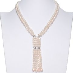 Pink Cultured Freshwater Pearl 2-Strand Elegant Tassel Necklace
