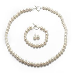White 8-9mm Potato Pearl Necklace Bracelet Earrings Jewelry Set with 925 Sterling Silver Fitting