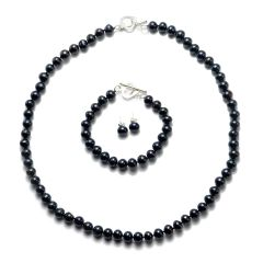 Black 8-9mm Potato Pearl Necklace Bracelet Earrings Jewelry Set 925 Sterling Silver