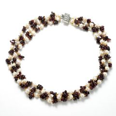 Women's Fashion 3 Strand White Freshwater Pearl Garnet Chip Necklace with Alloy Clasp