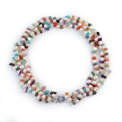 7-8mm White Nugget Pearls and Multi-color Nugget Stones Twisted Necklace Triple Strands