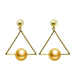 Women's 18K Gold Geometric Hollow Triangle Earrings with 8-8.5mm Golden Pearl