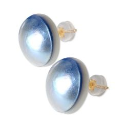 Exquisite 18 K Blue Mabe Pearl Earring with Safety Pad