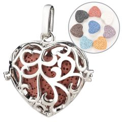 Lava Stone Hollow Heart Cage Pendant Perfume Fragrance Essential Oil Diffuser Locket