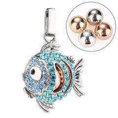 Copper Rhinestone Lucky Fish Pendant Angel Chime Caller Harmony Bola Locket Cage for Mom To Be Gift