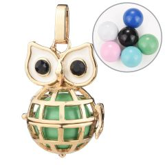 Lovely Owl Pregnant Pendant Harmony Ball Mexico Chime Bell Owl Cage Charms Gold Color