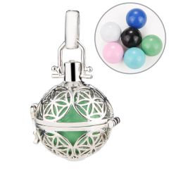 Harmony Ball Hollow Flower Locket Cage Pendant fit DIY Chime Ball Necklace Jewelry For Women