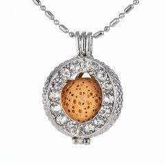 Rhinestone Open Round Cage Locket Pendant for DIY Aromatherapy Essential Oil Diffuser Jewelry
