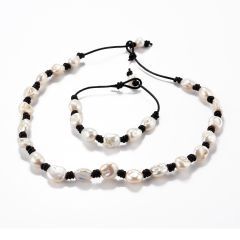 White Baroque Pearls Hand-knotted on Leather Cord Necklace and Bracelet Fashion Jewelry Set