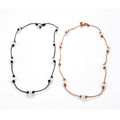 Pearl and Leather Wrap Necklace Lariat Choker Bracelet Anklet Pearl and Leather Jewelry Collection