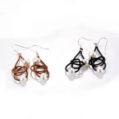 Two White Pearl Friendship Knot Leather Earrings-Pearl and Leather Jewelry Collection