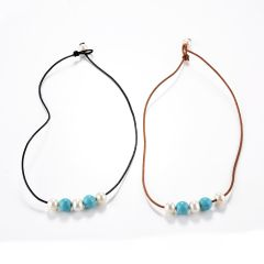 Women's Turquoise Bead Freshwater Pearl Leather Necklace Beach Boho Jewelry