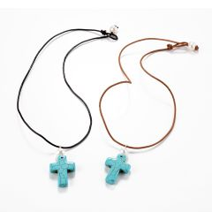 Cross shaped Turquoise White Freshwater Pearl Pendant Leather Necklace 18 inch