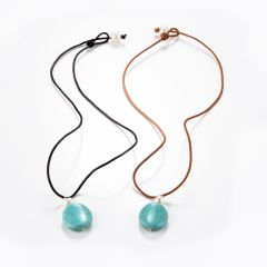 Coin-shaped Turquoise White Pearls Leather Necklace Rustic Turquoise Jewelry Gift for Her