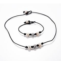 Simple Design Triple Pearl and Leather Choker Necklace and Matching Bracelet Costume Jewelry