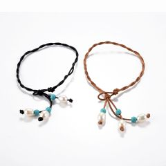 Pearl Turquoise Ankle Bracelet Braided Leather Wrap Anklet Summer Beach Wear Jewelry