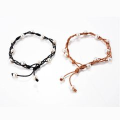 Braided 8-9mm Freshwater Pearl on Leather Cord Anklet for Girls