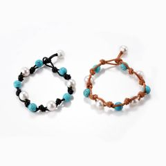 Fancy Freshwater Pearl and Turquoise Beads Knotted on Leather Beach Bracelet Jewelry