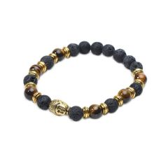 Black Lava Rock and Tiger Eye Buddha Head Beaded Bracelet for Men