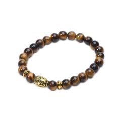 Men's 8mm Tiger Eye Energy Stone Beads Stretch Bracelet with Buddha, Lion Head Charms