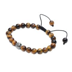 Tiger Eye Stone Beaded Braided Adjustable Bracelet for Men