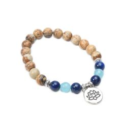 Picture Jasper Gemstone Beaded Elastic Yoga Mala Bracelet with Lotus Charm
