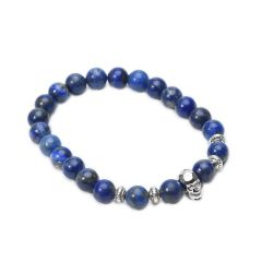 Skull Head Blue Lapis Lazuli Stretch Beaded Charm Bracelets