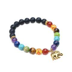 Black Onyx 7 Chakra Stone Yoga Meditation Healing Bracelet Elephant Charm