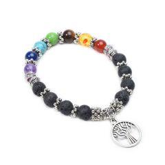 Lava Stone 7 Chakra Tree of Life Charm Yoga Bracelets