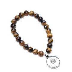 19cm Tiger Eye Gemstone Beaded Snap Button Bracelet (Drop Attachment)