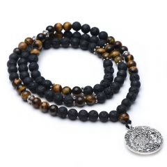 Black Lava and Tiger's Eye Stone Beaded Long Necklace with Alloy Chinese Style Pendant