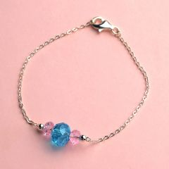 925 Silver Sterling Bracelet Jewelry with 2 Small Pink & 1 Big Blue Crystal Bangle
