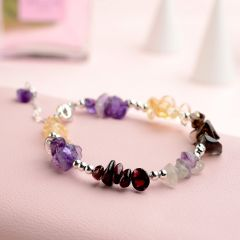 Exquisite 925 Silver Sterling Bracelet Jewelry with Colorful Amethyst Bangle Irregular Shape for Women