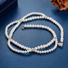 White Pearl and Rhinestone Ball Wedding Bridal Necklace Jewelry
