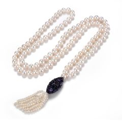 White Freshwater Pearl Tassel Necklace Long Beaded Sweater Necklace with Amethyst Pendant