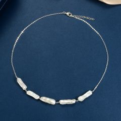 White Biwa Stick Freshwater Pearl and Chain Station Necklace
