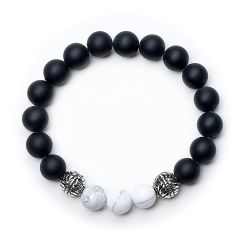 Black Frosted Stone Beads and White Turquoise Energy Healing Meditation Yoga Bracelet